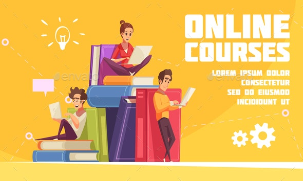 Online Courses Cartoon Advertising