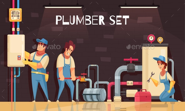 Plumbers At Work Illustration - Backgrounds Decorative