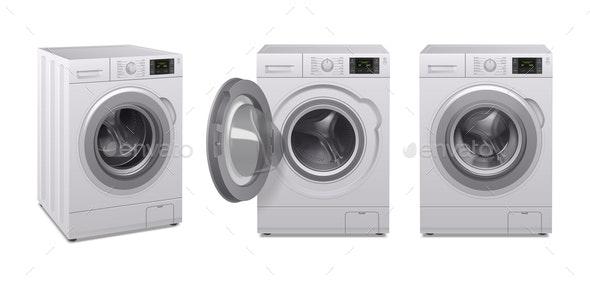 Washing Machine Realistic Icon Set - Man-made Objects Objects