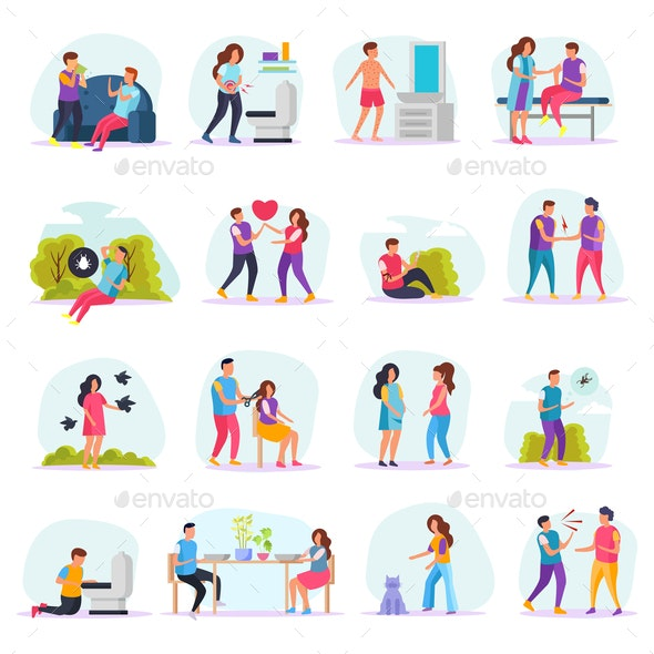 Diseases Transmission Ways Flat Icons - Health/Medicine Conceptual