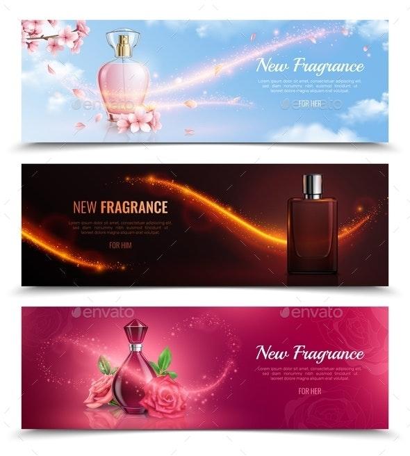 New fragrance Horizontal Banners - Miscellaneous Vectors