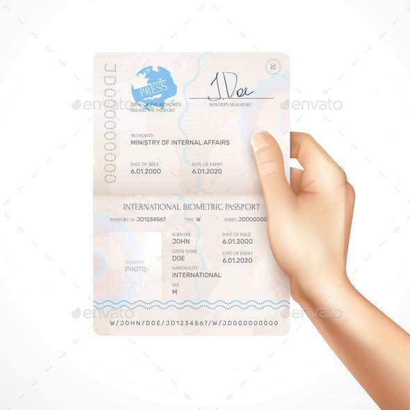 Biometric Passport Mockup in Human Hand