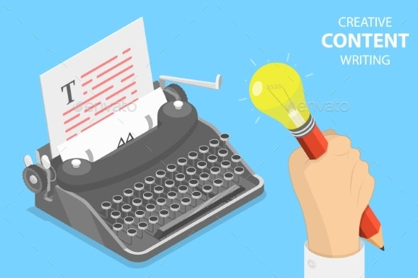 Flat Isometric Vector Concept of Creative Writing - Industries Business
