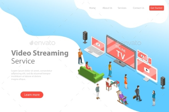 Isometric Flat Vector Landing Page Template - Computers Technology