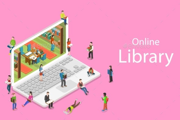 Isometric Flat Vector Concept of Online Library - Miscellaneous Vectors