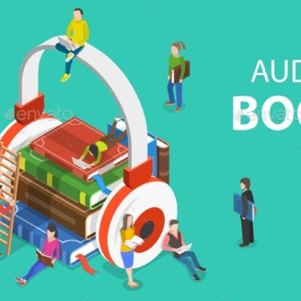 Isometric Flat Vector Concept of Audio Book