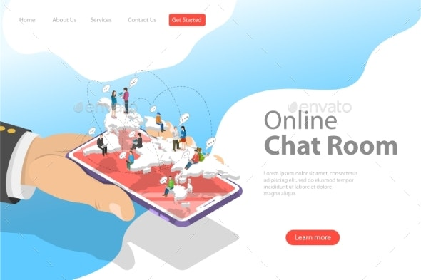 Flat Isometric Vector Landing Page Template - Communications Technology