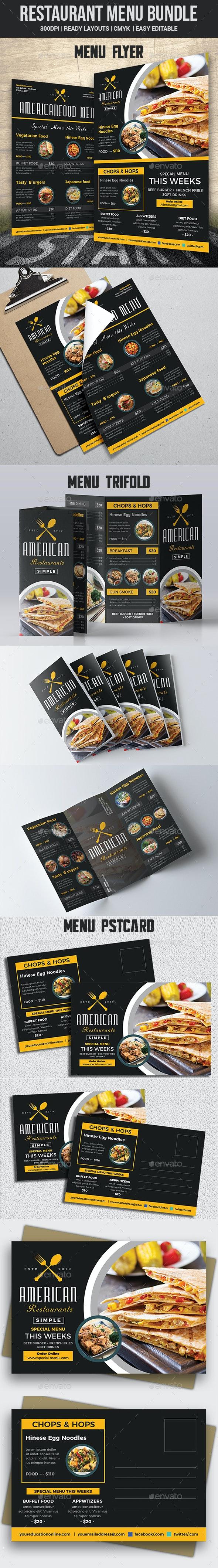 Restaurant Menu Bundle Templates - Food Menus Print Templates