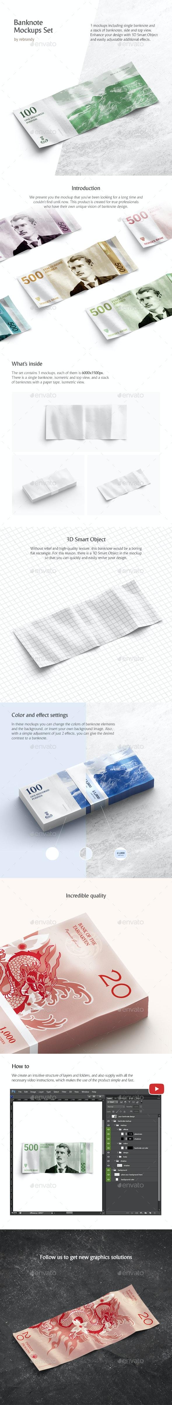 Banknote Mockups Set - Product Mock-Ups Graphics