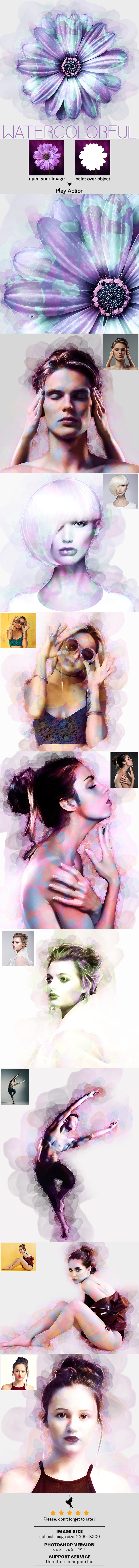 WaterColorful Photoshop Action - Photo Effects Actions