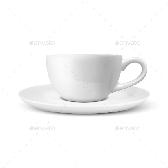 Realistic Vector Glossy Blank White Coffee Tea - Food Objects