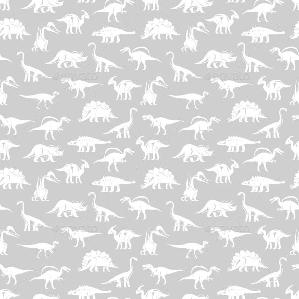 White Silhouettes of Different Dinosaurs - Backgrounds Decorative