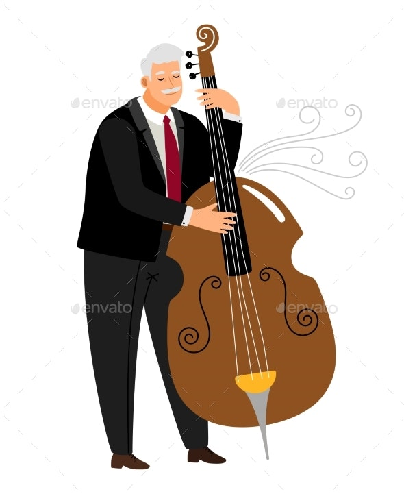 Contrabassist Man - People Characters
