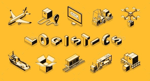 Delivery Company Transport Isometric Vector Set - Backgrounds Business