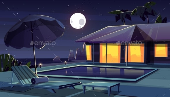 Vector Cartoon Hotel at Night Tropical Resort - Travel Conceptual