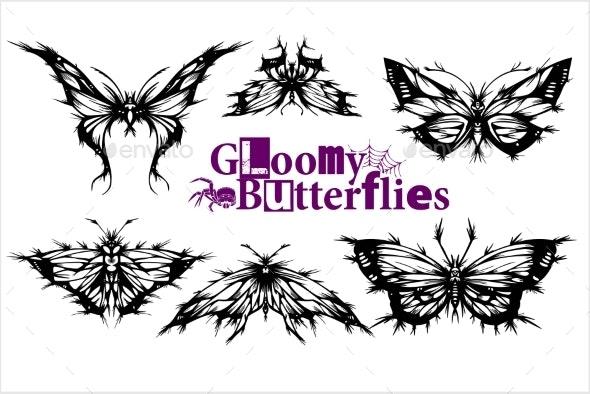 Gloomy Butterflies Vector Set - Miscellaneous Vectors