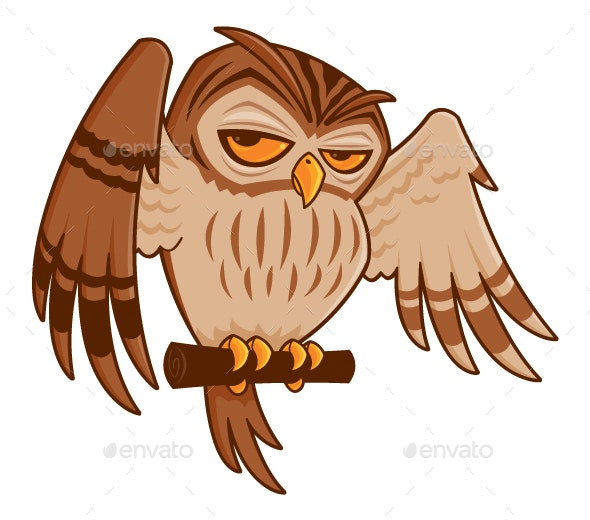 Cartoon Owl on Perch - Animals Characters