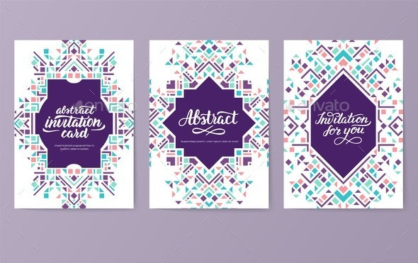 Geometric Abstract Vector Brochure Cards Set - Backgrounds Decorative