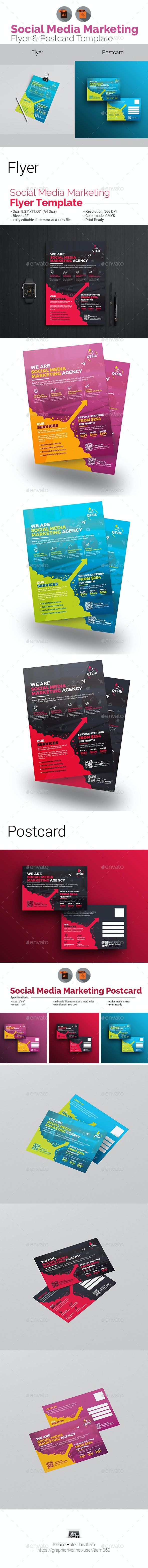 Social Media Flyer with Postcard Bundle - Corporate Flyers