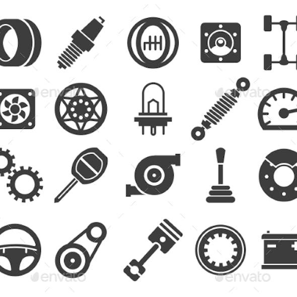 Car Parts Black Icons