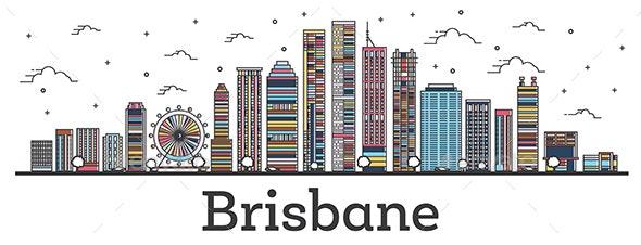 Outline Brisbane Australia City Skyline with Color Buildings - Buildings Objects