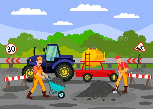 Road Repair Works on Highway Vector Illustration - People Characters