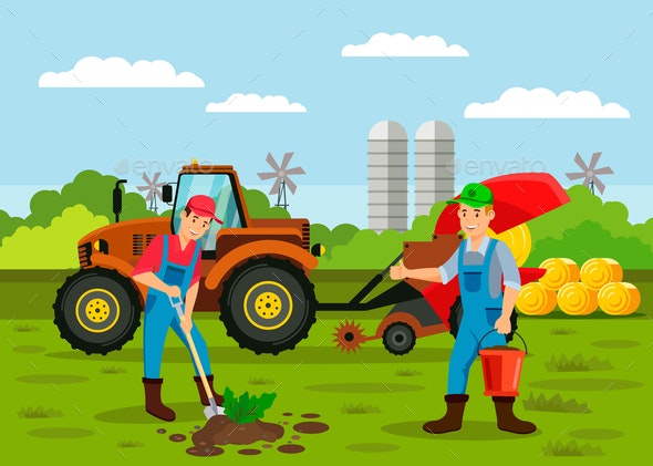 Farmers Planting Sprout Seed Vector Illustration - Backgrounds Decorative