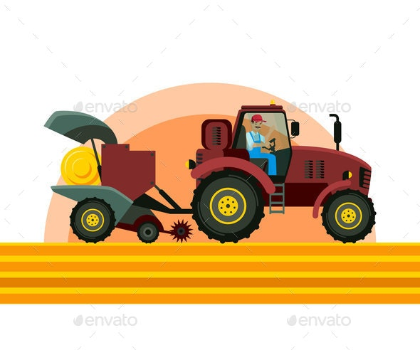 Tractor Baler in Field Vector Illustration - Industries Business