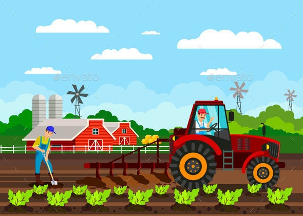 Farmers Working Cartoon Characters Flat Vector - Industries Business