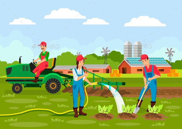 Agronomy Cartoon Vector Illustration - People Characters