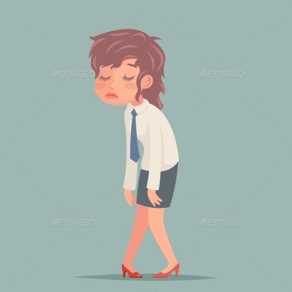 Tired Disheveled Businesswoman Sad and Weary - People Characters