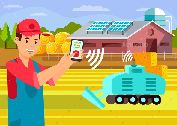 Smart Farming Flat Vector. Hi-tech Agriculture - Industries Business