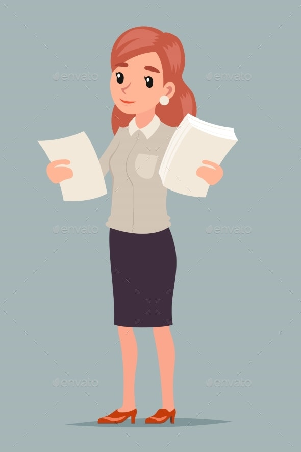 Choice Decision Making Businesswoman Holds Contract - People Characters