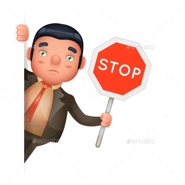 Stop Sign in Hand of Businessman Looks Out Corner - Concepts Business
