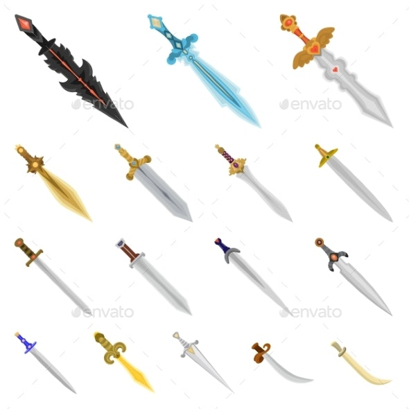 Isolated Object of Sword and Dagger Icons - Miscellaneous Vectors