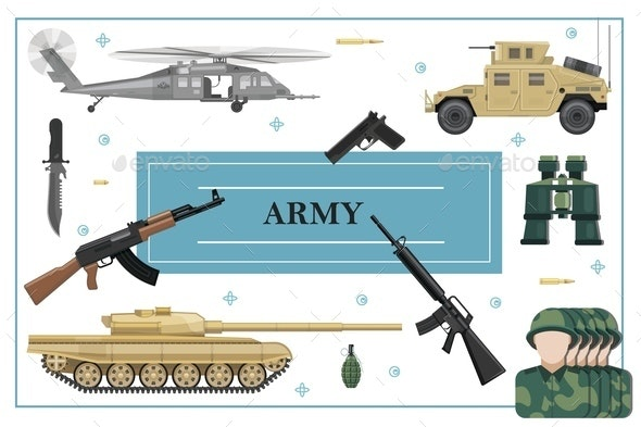 Flat Military and Army Concept - Miscellaneous Vectors