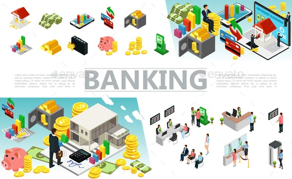 Isometric Banking Elements Set - Industries Business