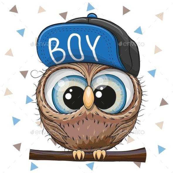 Cartoon Owl in a Cap - Miscellaneous Vectors