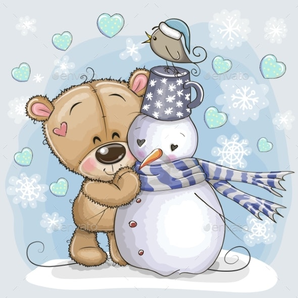 Teddy Bear and a Snowman - Miscellaneous Vectors