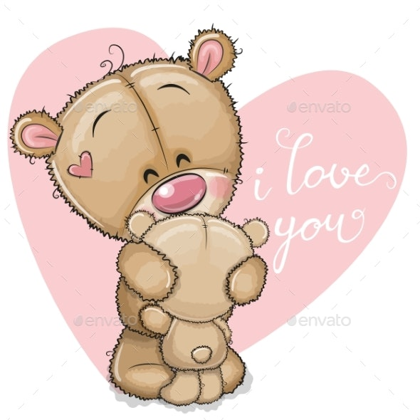 Mother Bear Hugging Baby Bear - Miscellaneous Vectors