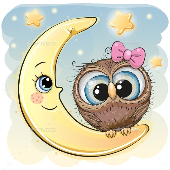 Cartoon Owl Girl on the Moon - Animals Characters