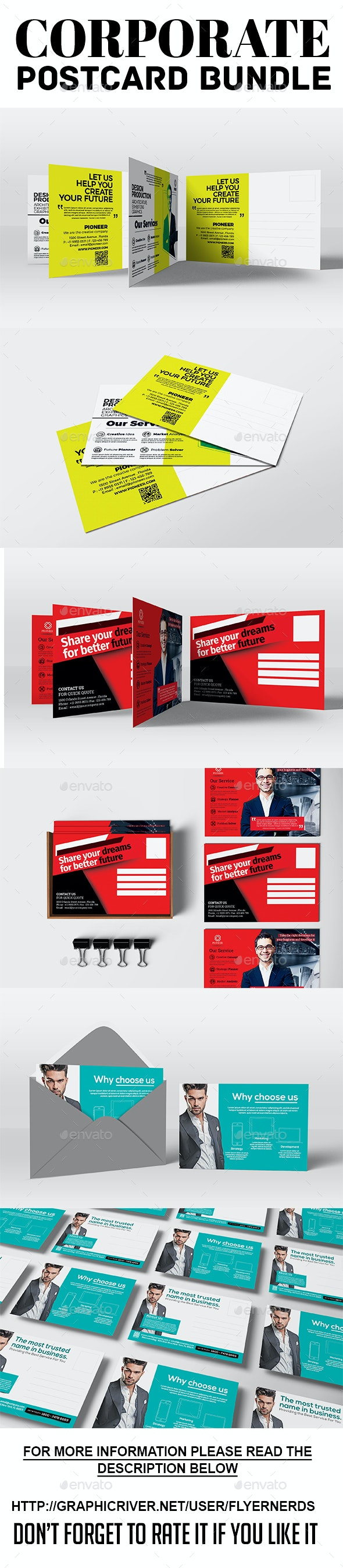Corporate PostCard Bundle - Cards & Invites Print Templates