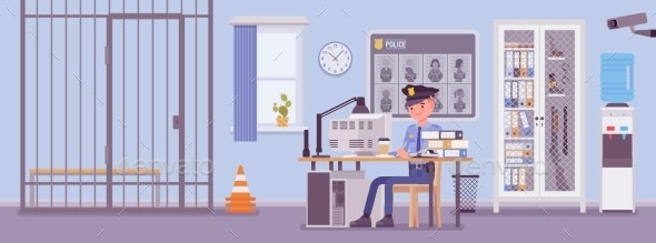 Police Station Office and a Policeman Working - People Characters