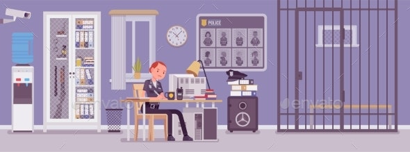 Police Station Office and a Policewoman Working - People Characters