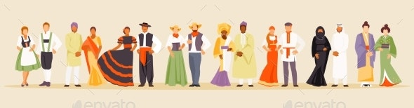 Large Collection of National Costumes - People Characters