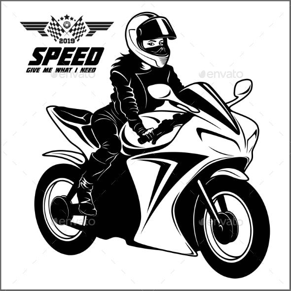 Woman and Sport Motorbike - Monochrome Vector - Sports/Activity Conceptual