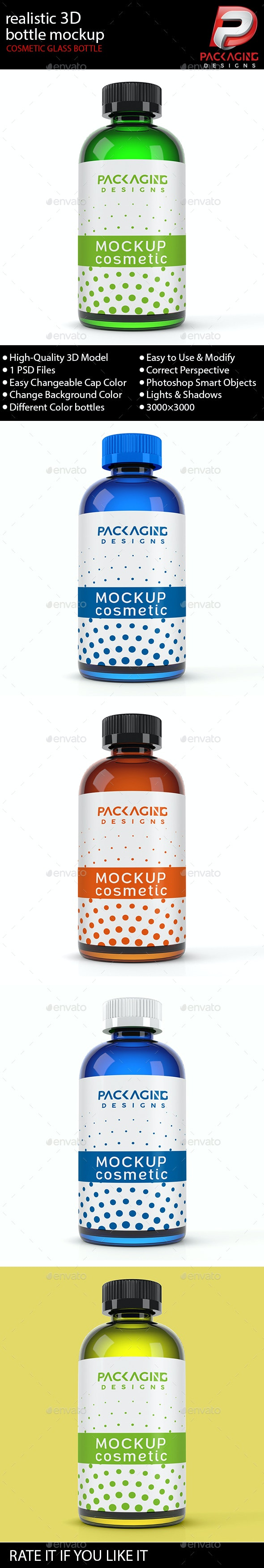Realistic 3D Cosmetic Glass Bottle Mock-Up-9 - Packaging Product Mock-Ups