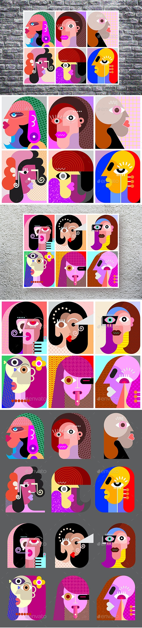 Twelve Abstract Vector Avatars - People Characters