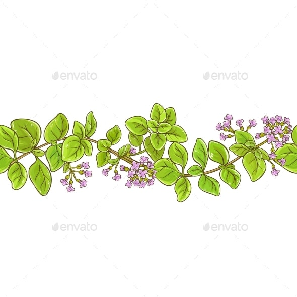 Oregano Branch Vector Pattern - Food Objects