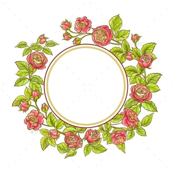 Rose Branch Vector Frame - Flowers & Plants Nature
